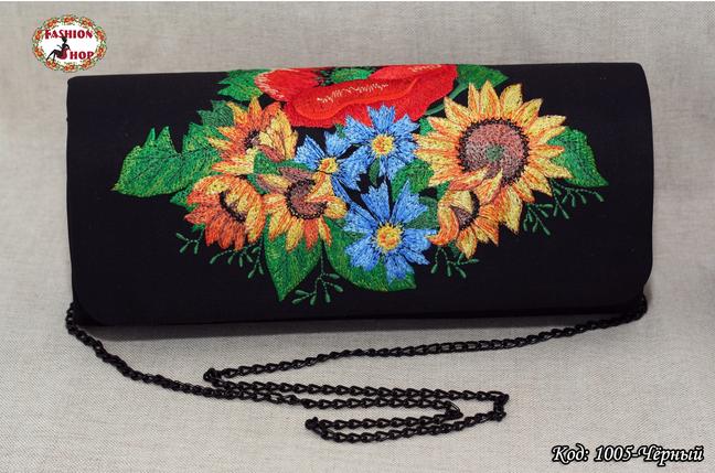 Вышитый чёрный клатч Букет цветов, фото 2