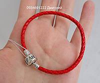 Кожаный браслет Пандора красный