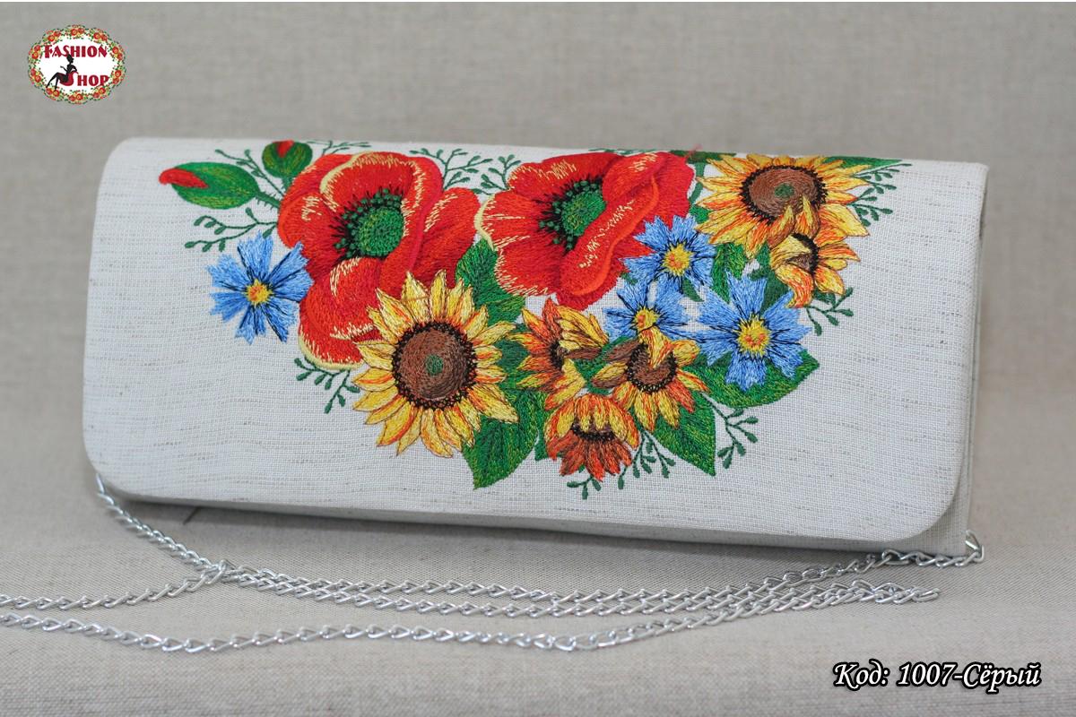 Вышитый серый клатч Украинские цветы