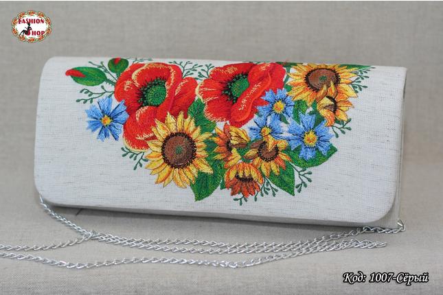 Вышитый серый клатч Украинские цветы, фото 2