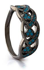 Серебряный перстень Косичка черный родий с голубыми фианитами