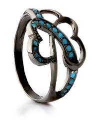 Серебряный перстень Бабочка черный родий с голубыми фианитами