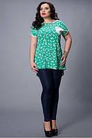 Молодежная блуза с модной спинкой, размер 48-50,50-52,52-54,54-56 бирюза