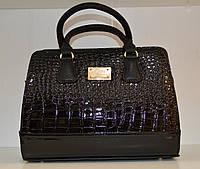 Лаковая женская сумка крокодил