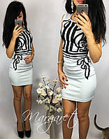 Женское шикарное белое мини-платье с узором