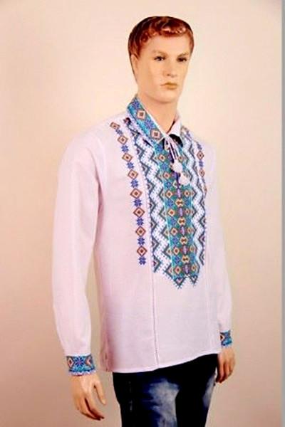 Льняная мужская вышиванка в украинском стиле