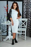 Женское платье с кожаными рукавами до колен
