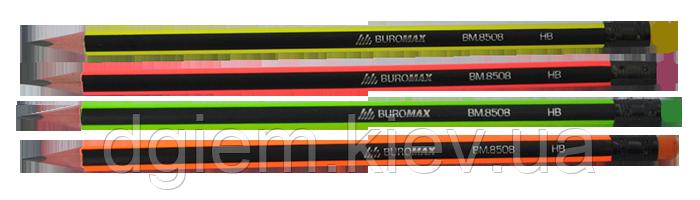 Карандаш графитовый NEON LINE HB с ластиком трехгранный Buromax