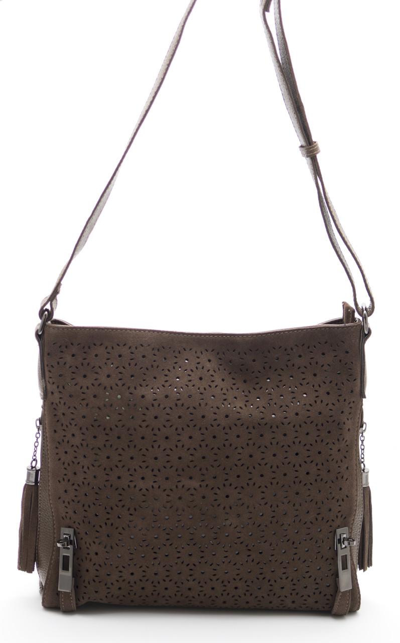 Стильная женская замшевая сумка коричневого цвета  Б/Н art.1301