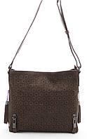 Стильная женская замшевая сумка коричневого цвета  Б/Н art.1301, фото 1