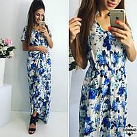 Женское платье в пол (цветочный принт), фото 1