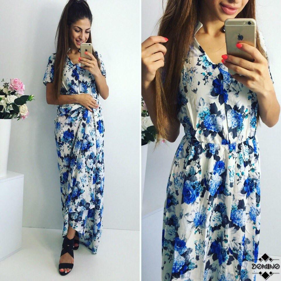 Женское платье в пол (цветочный принт)