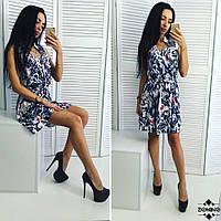 Женское летнее платье без рукавов с цветочным принтом , фото 1