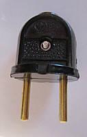 Вилка электрическая (колокольчик) карболитовая чёрная 10А (S306)