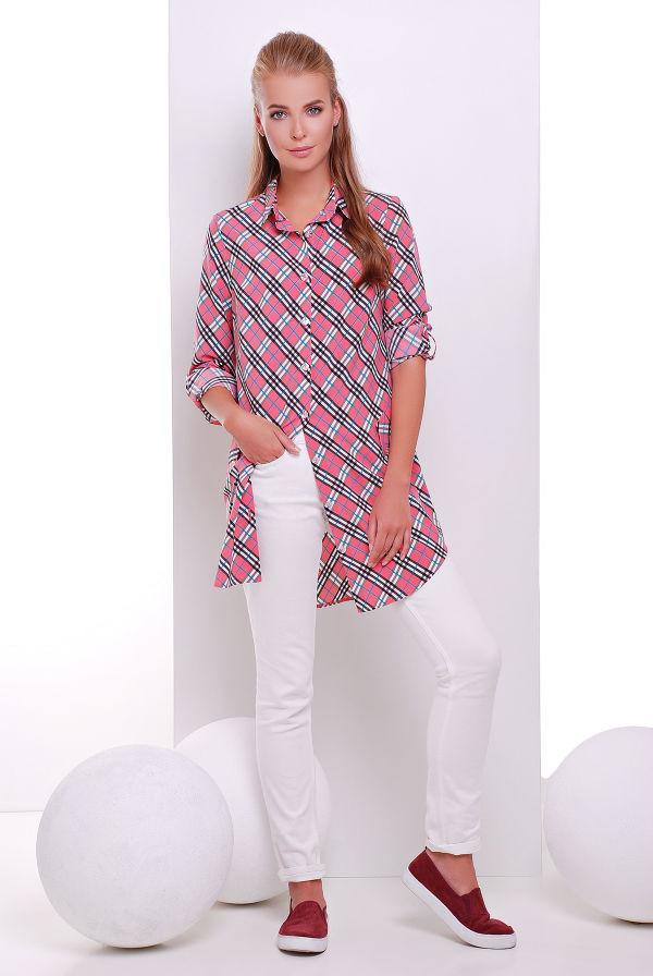 Платье-рубашка розовая в клетку  TAYLOR