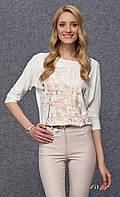 Женская блуза из вискозы молочного цвета с абстрактным принтом, рукав три четверти. Модель Arena Zaps.