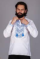 Вышитая мужская рубашка с синим узором, фото 1
