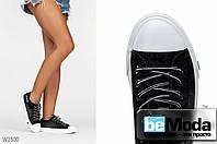 Роскошные женские кеды Siying Wing Black из джинса с нашивками и пайетками черные