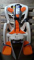 Велокресло детское BELLELLI Pepe Standard за раму под седлом   бежевое с оранжевым матрасиком