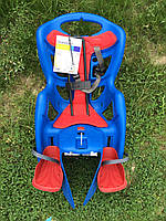 Велокресло детское BELLELLI Pepe Standard за раму под седлом   синее с красным матрасиком
