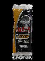 Набор одноразовых бритвенных станков  Bic Metal в упаковке 6 шт Оригинал