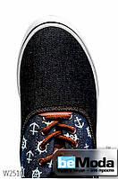 Модные мужские кеды Navigator Anchor Black/Blue из джинса с рисунком черные с синим