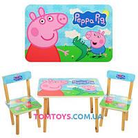 Деревянный столик с двумя стульчиками Свинка Пеппа 501-13