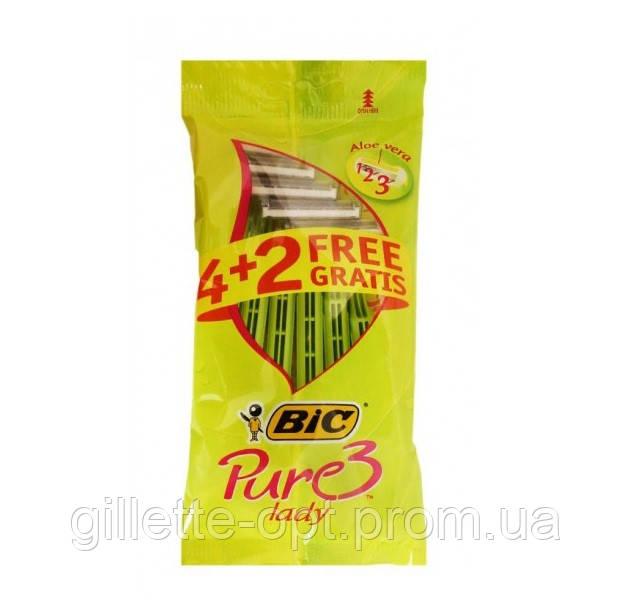 Набор одноразовых бритвенных станков Bic Pure 3 Lady 6 шт. в упаковке