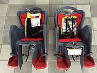 Велокресло детское BELLELLI Mr Fox STANDARD за раму под седлом   серое с красным матрасиком