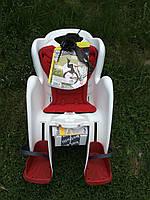 Велокресло детское BELLELLI Mr Fox STANDARD за раму под седлом   белое с красным матрасиком