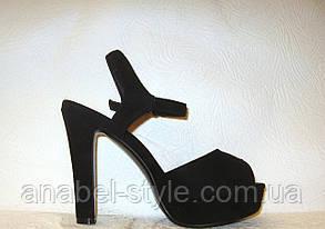 Босоножки женские стильные на каблуке замшевые черные, фото 2