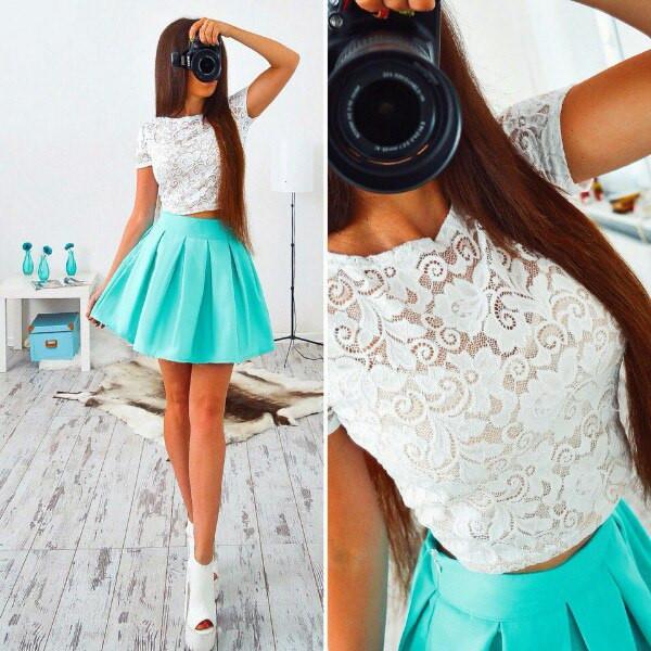 de69093e3f6 Красивый женский костюм с пышной юбкой и кружевным топом в расцветках АМС-07.013  - Интернет