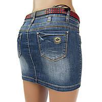 Юбка узкая джинсовая синяя с потертостями