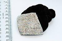 Резинка для волос велюровая ромб с камнями чешское стекло, 1 шт.