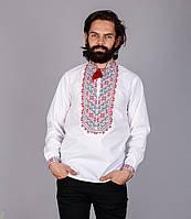 Вышитая мужская рубашка с красным узором