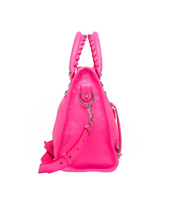Кожаная женская сумочка через плечо Balenciaga Classic Silver City Pink