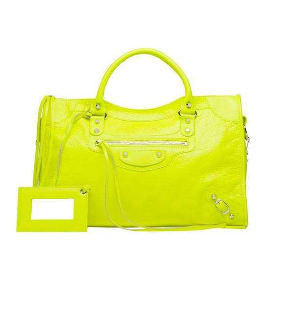 Кожаная женская сумочка через плечо Balenciaga Classic Silver City Lime