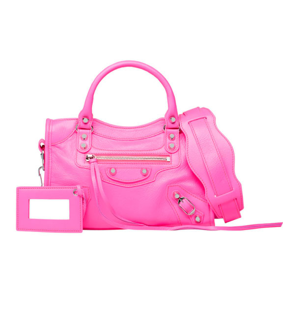 Кожаная женская сумочка через плечо Balenciaga Classic Silver City Pink Mini
