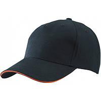 Кепка-сэндвич Myrtle Beach 6526, 5 панелей, черная с оранжевой вставкой, от 10 шт