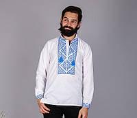Вышиванка мужская с геометрическим узором синяя