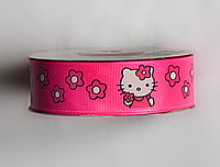 Лента репсовая 25мм Marill Hello Kitty розовая