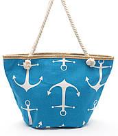 Яркая  голубая женская сумка с якорями Б/Н art. 9463