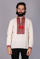 Вышиванка мужская с геометрическим узором лен красная