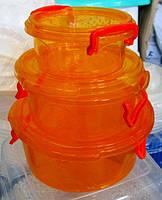 Набор контейнеров с зажимом круглые из 3 шт