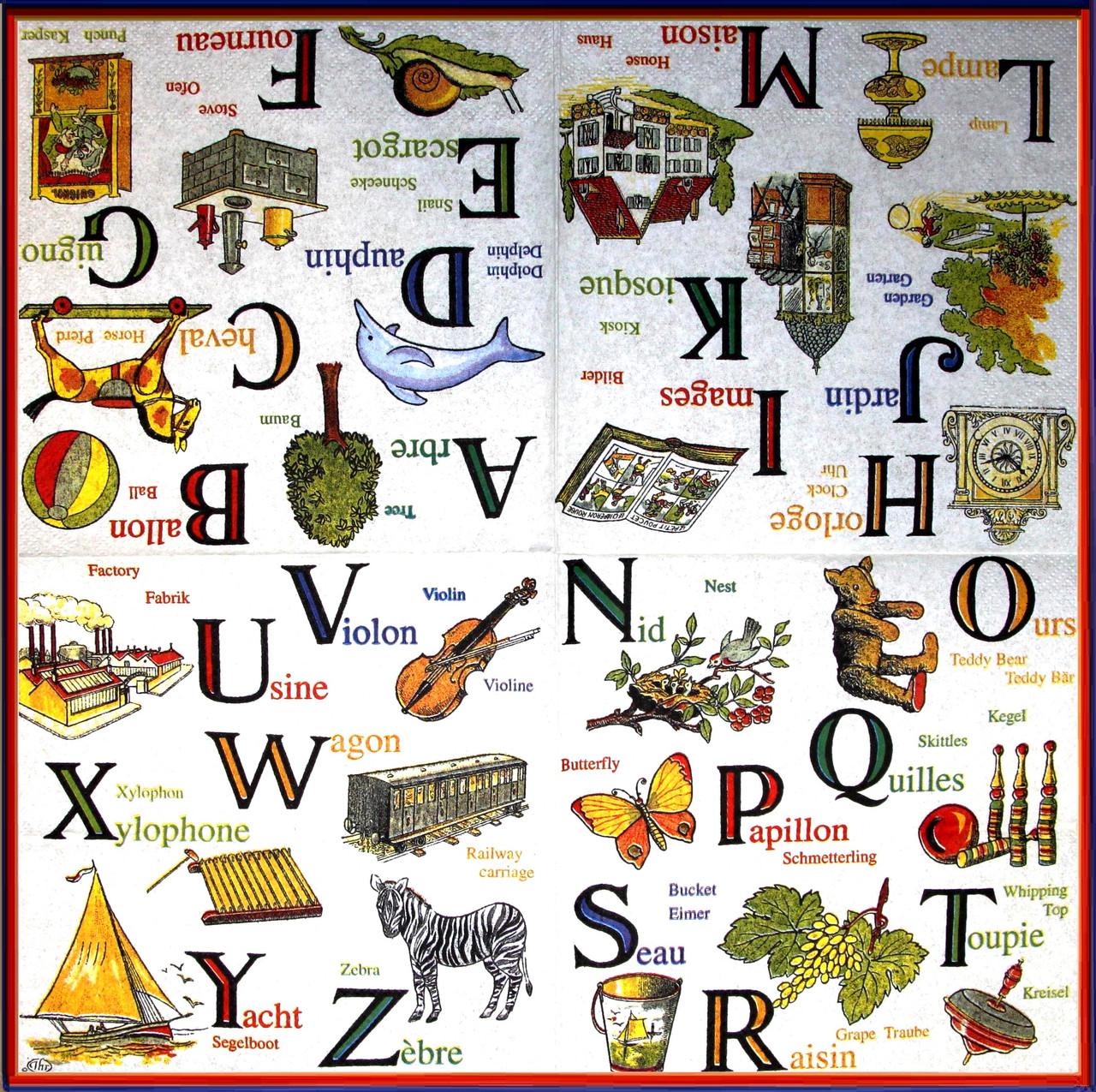 Салфетки декупажные Английский алфавит 928