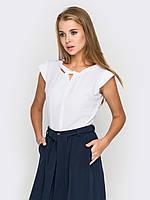 Красивая белая женская блуза офис креп-шифон р.42,44,46,48