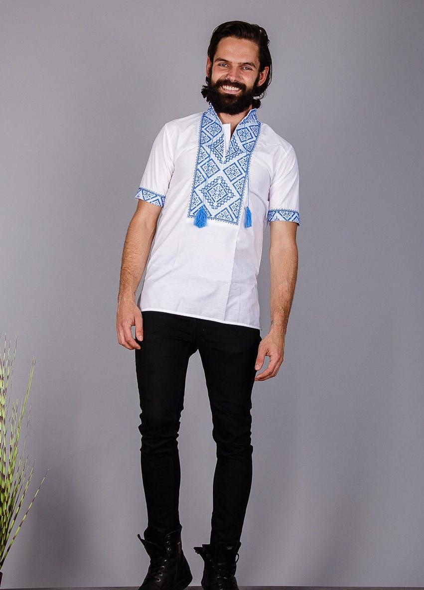 Вышиванка мужская на короткий рукав вышивка синяя