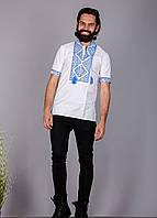 Вышиванка мужская на короткий рукав вышивка синяя, фото 1