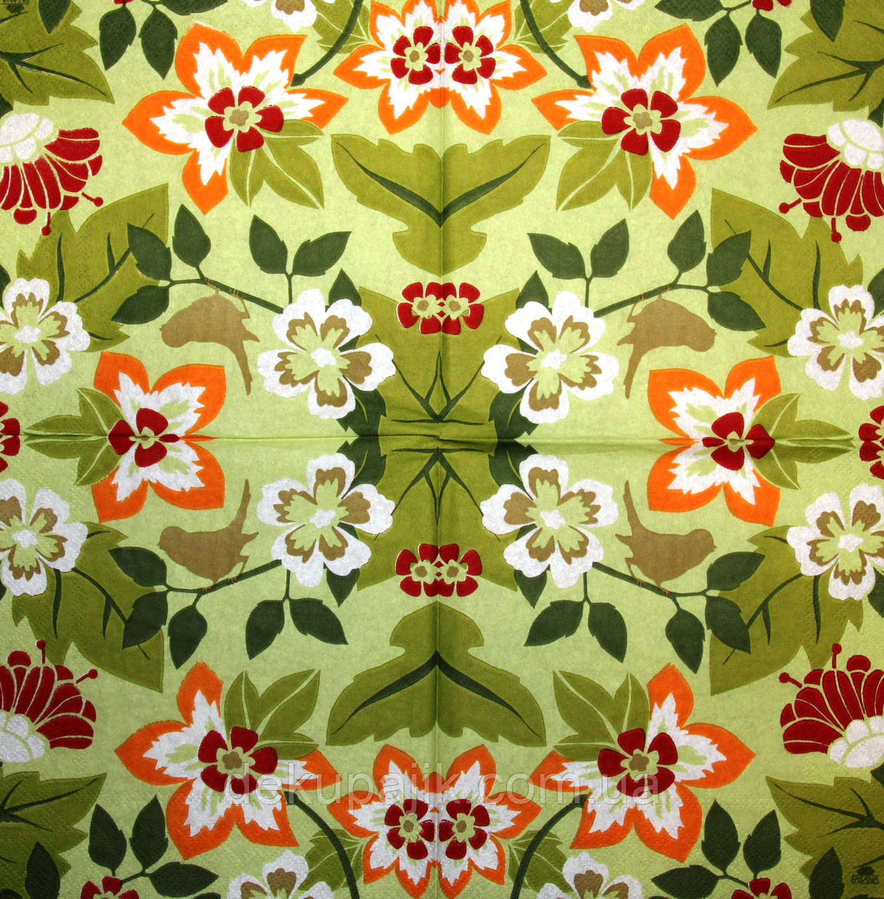 Салфетки для декупажа Цветы на зелёном фоне 939
