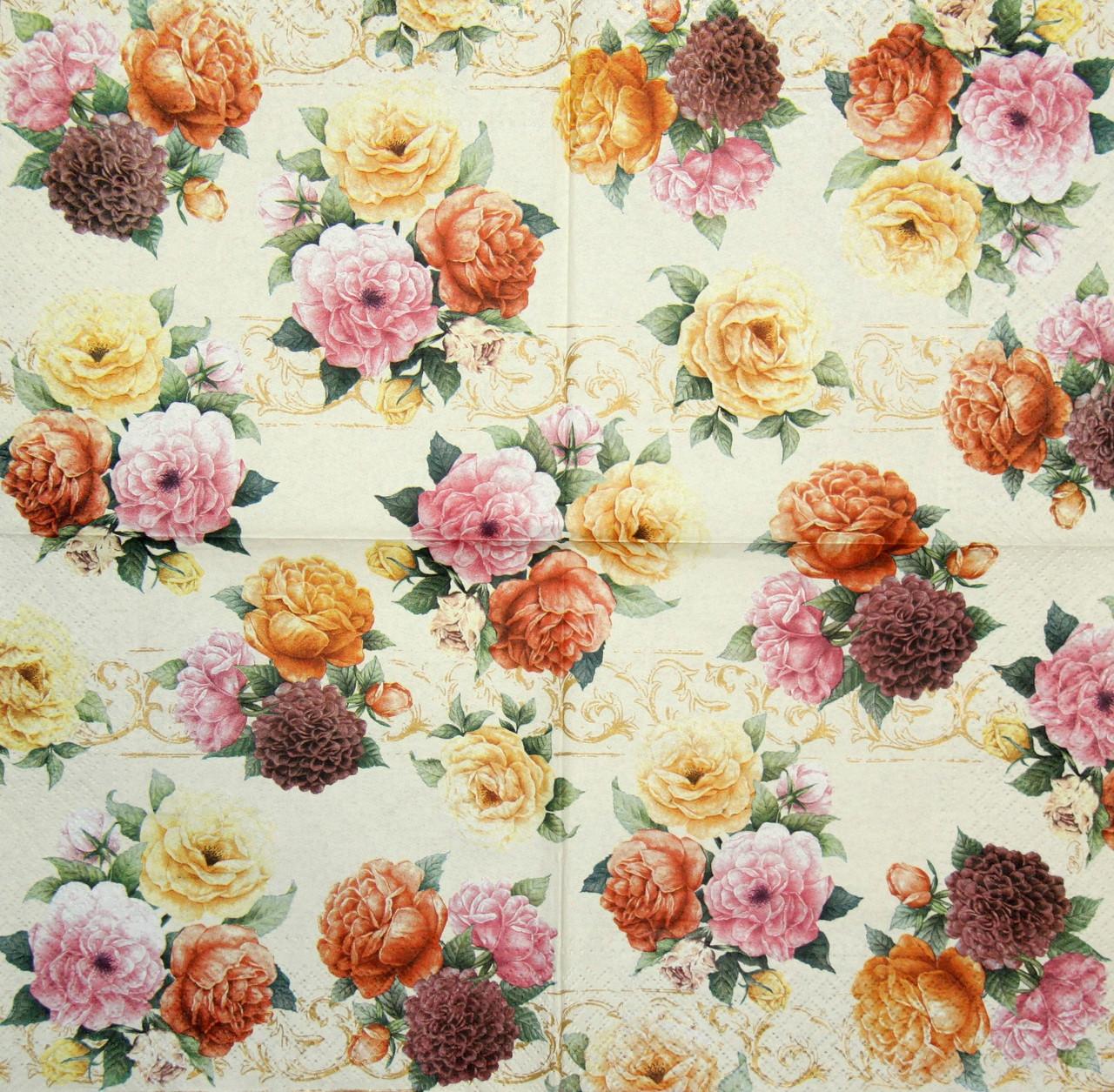 Салфетки для декупажа Цветы на жёлтом фоне 940